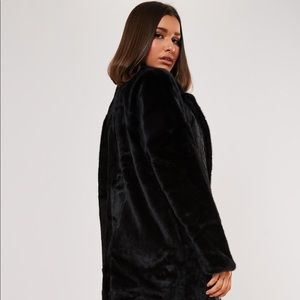 Zara Black Faux Fur Trench Coat Jacket